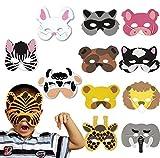 DAYAN Lot de 12 kits Carnaval Masques-zèbres, éléphants, les porcs, girafes, chats, renards, chiens, lions, ours, lapins, bovins, tigre