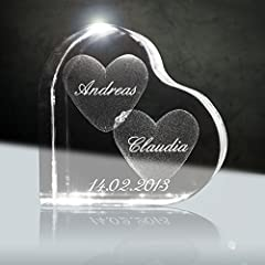 Idea Regalo - Cristallo, ti amo | Cuore in vetro laser 3D da 58 mm con incisione | Il regalo per coloro che amate o per l' anniversario