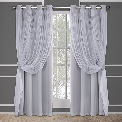 Exclusive Home Catarina Layered massiv Blackout und Sheer Fenster Vorhang Panel Paar mit Tülle Top, Polyester, Cloud Grau, 84 x 52 x 0,2 cm (Blackout-panels)