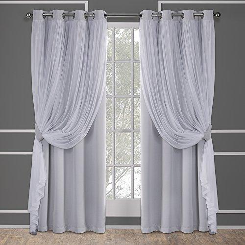 Exclusive Home Catarina Layered massiv Blackout und Sheer Fenster Vorhang Panel Paar mit Tülle Top, Polyester, Cloud Grau, 84x 52x 0,2cm (Blackout-panels)