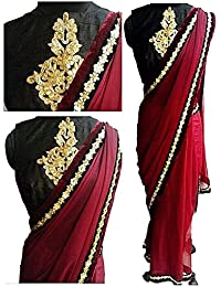 Sarees ( Maroon Color 60Gm Georgette Multiwrok Saree, New Arrival Latest Best Choice And Design Beautiful Sarees...