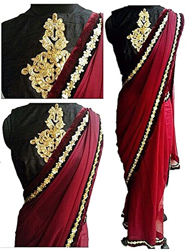 Sarees ( Maroon Color 60Gm Georgette Multiwrok Saree, New Arrival Latest Best...