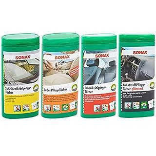 SONAX-SET mit 1 x Sonax Innenreinigungstücher Box, 25Stk + 1 x Sonax Kunststoffpflegetücher Glänzend Box, 25Stk + 1 x Sonax Lederpflegetücher Box, 25Stk + 1 x Sonax Scheibenreinigungstücher Box, 25St