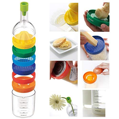 Amazing 8 in 1 Kunststoff-Flaschenform Entsafter Ingwerreibe Eierknacker Gemüse-Zerkleinerer Dosenöffner Eiertrenner Praktische Küchenwerkzeuge