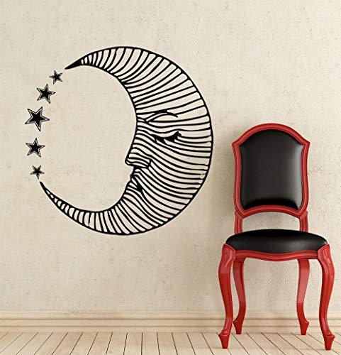 Sleepy Moon Stars Adesivo A Righe Sleeping Moon Wall Vinile...