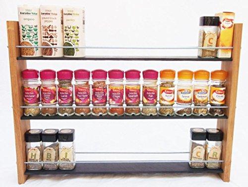 Oak Slate Design.. à épices ..3 étages 36 pots Style contemporain-Deep étagères pour de grandes boîtes à épices, les boîtes, les boîtes Kilner