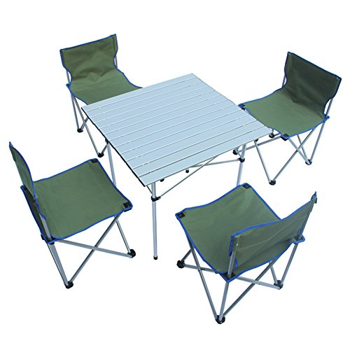 QIANGDA Camping Pliante Table avec 4 Chaises Stable Fort Alliage D'aluminium Multi-Fonction Portable - Pliable: 80 X 18 X 37cm, 3 Couleurs Optionnel (Couleur : Vert)
