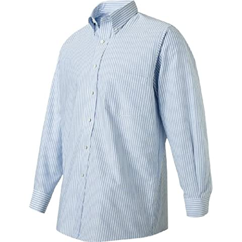 Van Heusen 57800 Mens Classic Long-Sleeve Oxford - Blue & White Stripe, 2XL by Van Heusen
