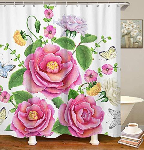 Livilan Watercolor Floral Stoff Duschvorhang Set 179,8x 179,8cm Dickes Deko Wasserdicht Quick Dry Polyester Badezimmer Vorhang Typ 1