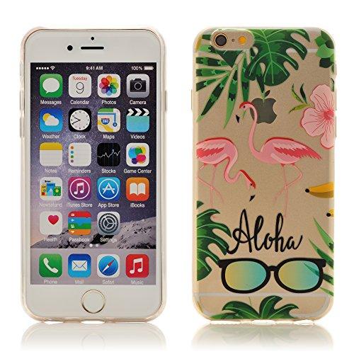 iProtect Apple iPhone 6, 6s TPU Softcase Schutzhülle kleine Flamingo-Parade Pink auf Weiß Aloha Summer
