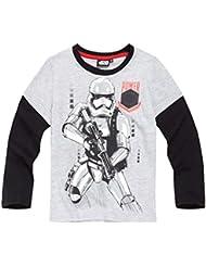 Star Wars-The Clone Wars Darth Vader Jedi Yoda Chicos Camiseta mangas largas 2016 Collection - Gris