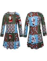 Abiti da abbinare alla famiglia di Natale Abiti da mamma e me a maniche  lunghe Babbo Natale Fiocco di neve Modello… 259c77cf040