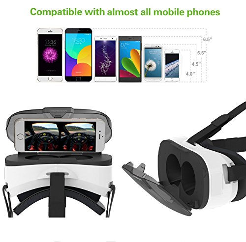 Pasonomi 3D VR Brille, Virtual Reality Headset VR Brille für iPhone 6 6S Plus, iPhone 7 7 Plus, Samsung S7 edge S8 S6 edge, Huawei, LG, HTC, Google und 4-6 Zoll Smartphones