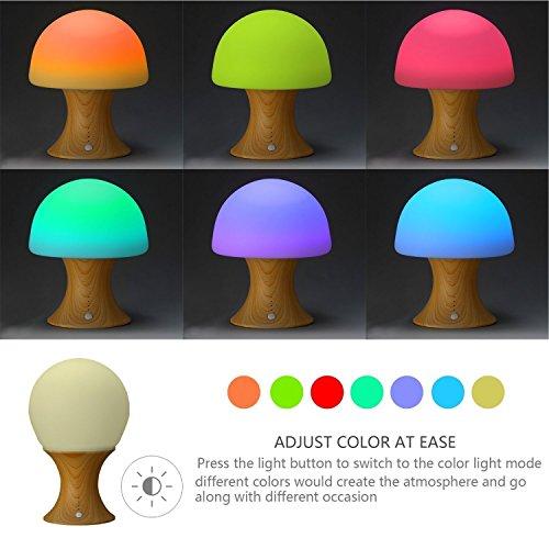 LEDemain® Kinder LED Nachttischlampe Farbwechsel Pilz Nachtlicht / Ambient Licht / Leselicht für Kinder Schlafzimmer (Built-in 1200MAH Batterie, Auto-Aus-Timer, Silicon + ABS)