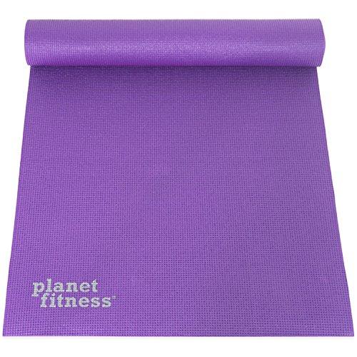 Planet Fitness Yogamatte, 6 mm dick, 68 Zoll L, Deluxe mit Microban-Antimikrobieller Technologie für Hot Yoga, hochdichte Gymnastikmatte mit rutschfestem Griff, Violett