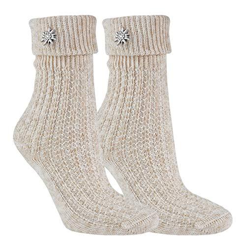 Vitasox 11254 Damen Trachten Socken Baumwollsocken mit Edelweiß einfarbig Stein 2 Paar 35/38