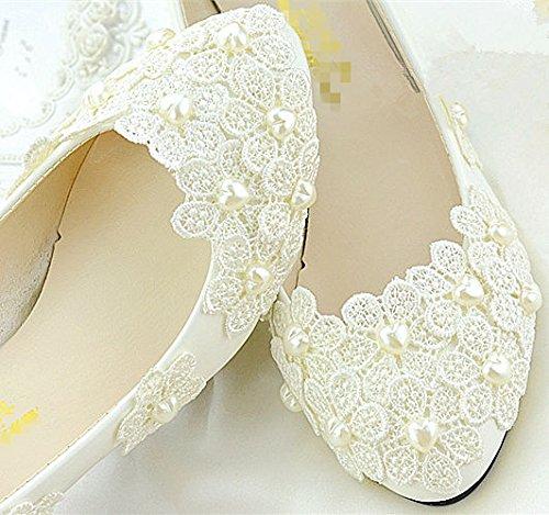 XINJING-S Ivory White Lace Perle Hochzeit Schuhe Braut Flachbild low High Heels Pumps Größe 5-12 Flach