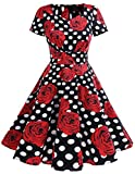 Dresstells Damen Vintage 50er Rockabilly Kurzarm Swing Kleider Partykleid Black Red Rose L