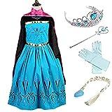 YOGLY Mädchen Prinzessin Elsa Kleid Kostüm Eisprinzessin Set aus Diadem, Handschuhe, Zauberstab, Größe 140,  03 Kleid und Zubehör