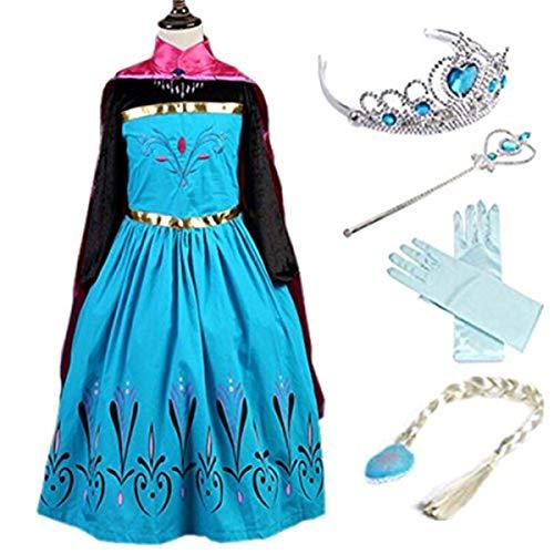 YOGLY Mädchen Prinzessin Elsa Kleid Kostüm Eisprinzessin Set aus Diadem, Handschuhe, Zauberstab, Größe 130,  03 Kleid und Zubehör