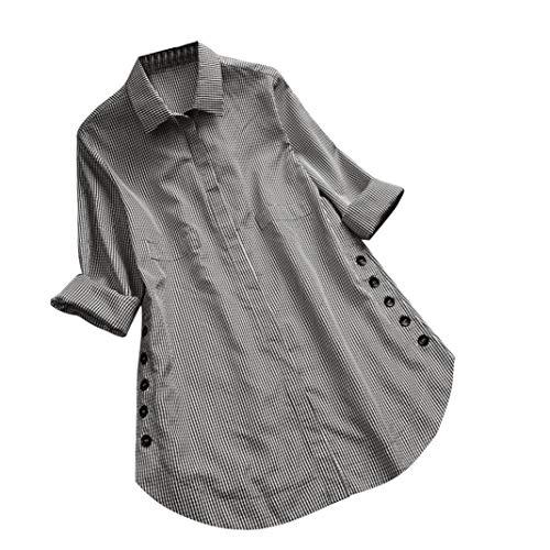 MEIbax Damen Langarm Gitter Knopf Casual Tops Shirt Lose Plus Size Bluse Langarmshirt Hemd Casual...