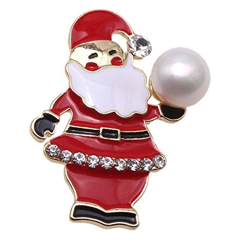 jyx weiße Süßwasser echte Weihnachten Pearl Brosche Pins brosche weihnachten (Geld Brosche)