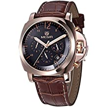 Megir Men Luxury Watch Men Cronógrafo Sport Watch Genuine Leather Men 's Quartz Wrist Watch