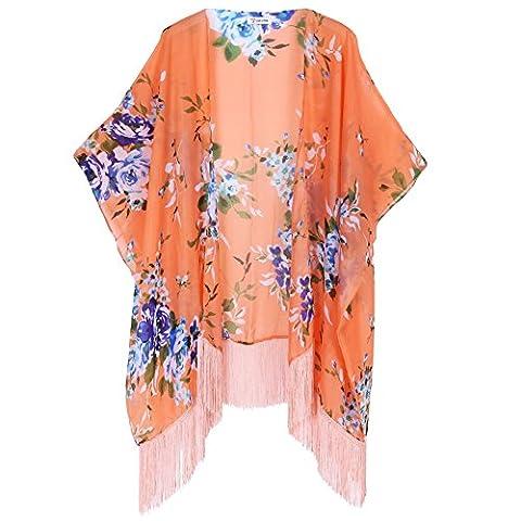 Soul Young Damen Sommer floral bedruckte Chiffon Kimono Cardigan Schal Tops (Button-down-cotton Cardigan)