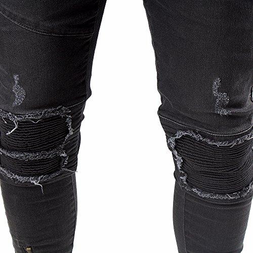 FiveSix Herren Used-Look Slim-Fit Denim Destroyed-Look Bikerjeans Zerrissen Löcher Skinny Jeans Hose mit Stretch Schwarz