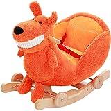 Schaukelstuhl Schaukelpferd Kinder Holz Pferd Feste Schaukelpferd Früherziehung Dual-use-Baby Baby Schaukel Wiegen Musik Lernspielzeug 60 * 28 * 44 cm FANJIANI