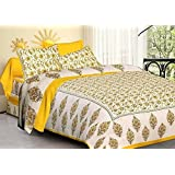 Vihaan Fab India Pure Cotton Rajasthani Abstract Design Print Double Bedsheet With 2 Pillow Covers,Size-(90 X 108 Inch) (Yellow White)