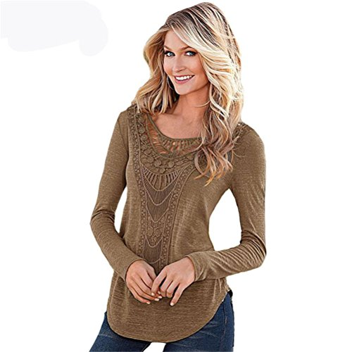 Shirt des femmes sexy ras du cou à manches longues Crochet creux Slim T-shirt Top Blouse Café