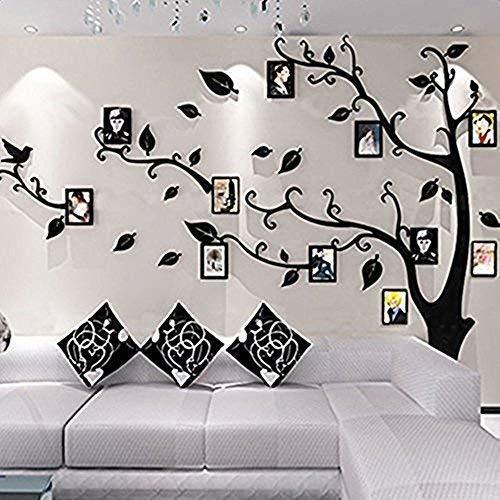Alicemall Stickers Autocollants Muraux Amovibles 3D en Acrylique Arbre avec des Branches Incurvées et des Cadres de Photo et des Oiseaux (Feuilles Noires vers Gauche)