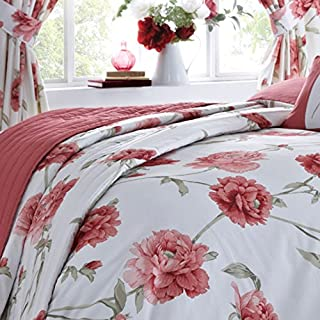 Luxury Arley Floral Print Quilted Bedspread Throw, Red - 200cm x 200cm