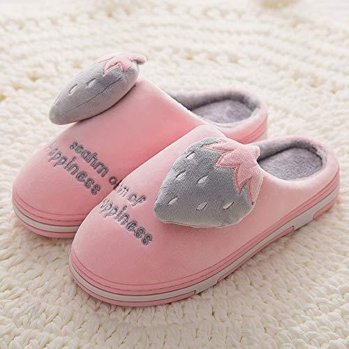NAFTY Damenschuhe Boots Winter Frauen Hause Hausschuhe Strawberry Fashion Warme Schuhe Frau Slip On Flats Weibliche Slides Schwarz Rosa, Pink1,6.5 (Haus-boot-hausschuhe)