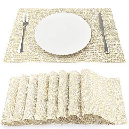 Tischsets Platzsets Gold & Weiß Karo Waschbar Leicht zu Reinigen 45x30 cm ()