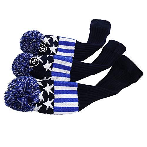 Star MamimamiH Classic Knit-Copritesta per mazza da Golf, in stile Vintage, con testa di 3 set/White & (blue)