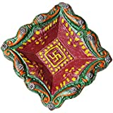 Craft Bazar Beautifull Handcrafted Diya Made Of Terracotta Beautifully Designed Set Of 10 Square Shaped Diwali Diya For Decoration