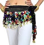 YuanDian Damen Münzen Bunt Pailletten Bauchtanz Taillenkette Hüfttuch Rock Belly Dance Hip Scarf Schwarz Mehrfarbig