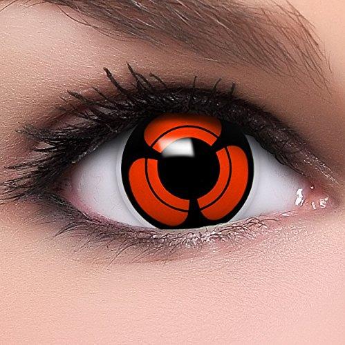 Funzera[Sharingan] Lenti a contatto colorate'Naori's Mangekyou' con portalenti e 10ml di soluzione combinata - non corrette, in confezione da due: comode da indossare e ideali per Halloween o Cosplay