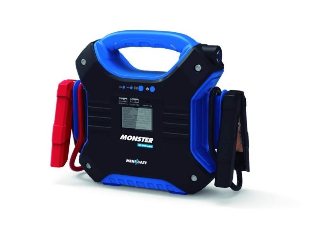 MONSTER – Miniarrancador para coches 35.000 mAh de MiniBatt- Especial para camiones, barcos, aviones… 24V. Incluye pinzas de arranque inteligentes.