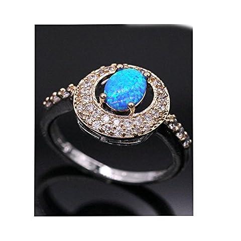 LOVE STUDIO,Ring Art und Weiseblaues Verlobungsring 18K Gold überzogene Opal Ring Schmucksachen für Frauen (Ring Size (Opal Gold Überzogenes)