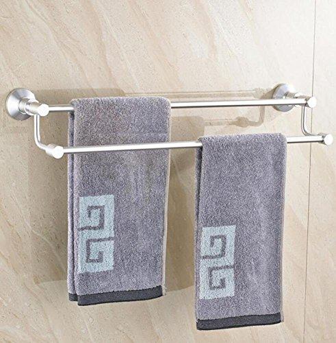 GuoEY Gebürstetes Aluminium Platz an der Wand Double Bar Badetuch Zubehör Badezimmer Organisation der Inneren Regal Duschtuch - (Single Load Bar)
