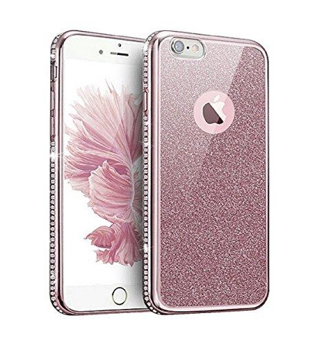 Coque pour Apple iphone 6 Transparent,Coque iphone 6s en Silcone avec Bling Diamant,Ekakashop Ultra-Mince Souple TPU Cristal Silicone Gel Protecteur Housse de Protection Arrière Bumper Cas avec Strass Or Rose Diamant