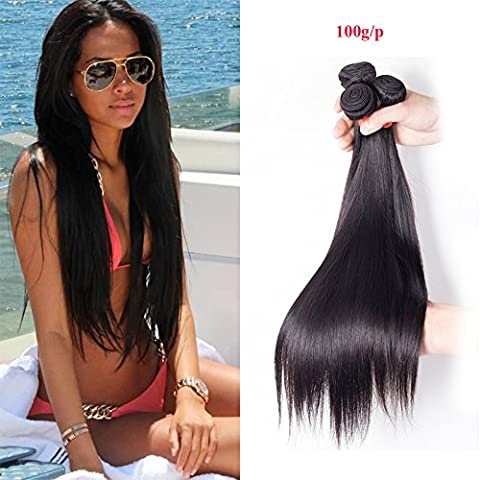 Richair 100% Human Hair 3Bundles Tissage Indien Lisse Couleur #1B 10 10 10 Pouces(25 25 25cm) Tissage Double Cousua La Machine 300g