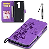 LG K8/K7 Hülle, LG K8/K7 Tasche Leder, Huphant Flip Case Leder [Imprited Pancy Tree Serie]PU Leather Case Wallet Case Magnet Case Book Case Schutzhülle Klappbar für LG K8/K7(5 Zoll)+1X Schwarzer Stylus Touchscreen Pen - Violett