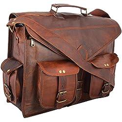 786 ABB 18 inch Vintage hecho a mano bolso bandolera de piel Para Portátil Maletín Bolso Bandolera