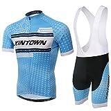 SpozFashion TeyxoCo Herren Blu Ray Radsport Bekleidung Gel Pad Bid Jersey Set L
