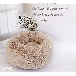 Hioowiu Warme Fleece Hundebett Runde Pet Lounger Kissen für kleine, mittelgroße Hunde Katze Winter Hundehütte Welpen Mat Leichter Kaffee_60cm