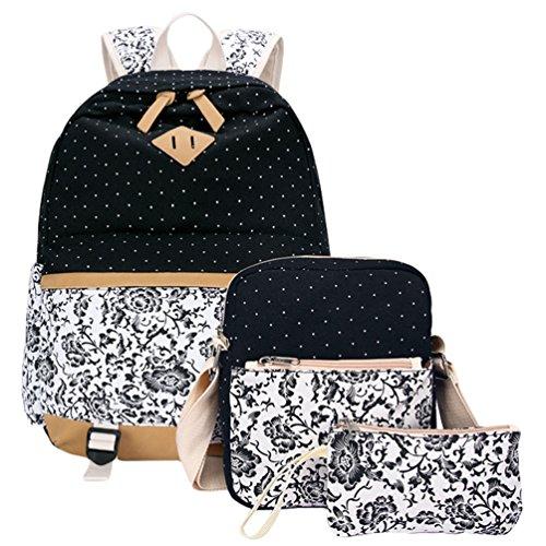 WanYang Unisex Della Tela di Canapa Zaino Collegio School Backpack Laptop Backpack + Crossbody Borsa + Portafoglio 3 Pezzi Set Nero